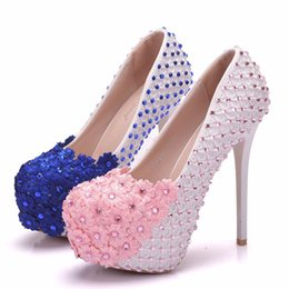 $enCountryForm.capitalKeyWord NZ - Crystal Queen White Lace Flowers Women High Heels Shoes Round Head Paltform Bridal Shoes Wedding Shoes Bow Ties Two Pieces Pumps