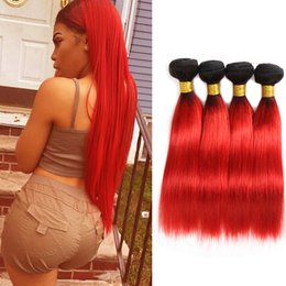Discount black red ombre hair weave - Dressmaker Brazilian Black To Hot Red Ombre Two Tone Straight Human Hair 4 Bundles Virgin Hair Bundles Mixed Length