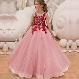 $enCountryForm.capitalKeyWord Australia - Kids Dresses For Girl Tulle Sleeveless Lace Appliques Bridesmaid Flower Girls Dress Elegant Princess Birthday Party Wedding Gown J190508
