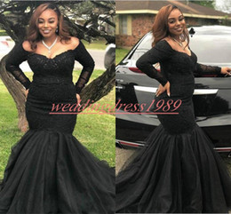 junior models pageant 2019 - Fashion Long Sleeve Mermaid Evening Dresses Lace Black Girl Plus Size African Formal Pageant Party Dress Prom Juniors Go