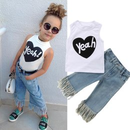 jeans top girl outfit NZ - 6M-5Y Kids Baby Girls Clothes 2pcs Set White Letter Vest Top Tassel Jeans Denim Pants Outfit Set Fashion Girls Clothes Summer