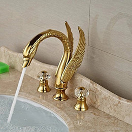 two hole tap UK - Luxury Swan Style Deck Mount Widespread Basin Faucet Two Handles Golden Washbasin Mixer Taps