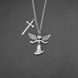 $enCountryForm.capitalKeyWord Australia - 30 piece per lot angel necklace ins stylish the angel wing locket necklace pendant necklace with angel wigns