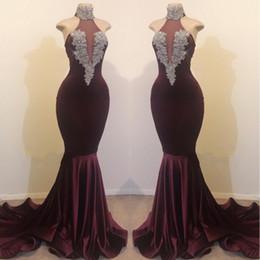 Black Plum Prom Dress Australia - Sexy High Neck Plum Mermaid Prom Dresses 2019 Sleeveless Beading Crystal Velvet Prom Dresses Eveing Wear Gowns BC1144