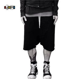Urban Clothes For Men Australia - Highstreet Summer Mens Drop Crotch Shorts Baggy Loose Drawstring Hip Hop Black Urban Clothes Joggers Harem Shorts For Male J190511