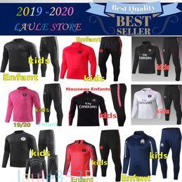 Kids blue tracKsuit online shopping - New kids Psg tracksuit psg soccer jogging jacket MBAPPE POGBA Paris child football training suit