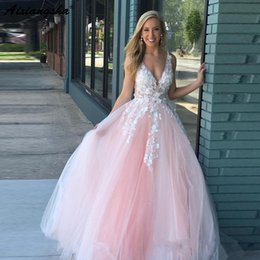 $enCountryForm.capitalKeyWord NZ - Romantic Design Princess Blush Pink Beaded Lace Applique vestidos de fiesta Party Prom Gowns 2019 Ball Gown Long Prom Dress