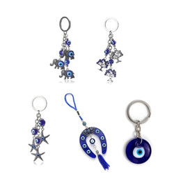 evil eye car pendant Australia - Turkish Blue Evil Eye Keychain Car Key Ring Amulet Lucky Charm Hanging Pendant