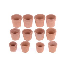 new doll toys NZ - 7 12pcs Mini Red clay Flowerpot Simulation Garden Flower Pot Model Toy For 1 12 Dollhouse Miniature Doll Houses Accessories