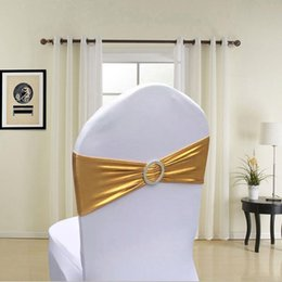 gold spandex banquet chair covers UK - 50pcs lot Metallic Gold Silver Black 10 Colors Ceremony Decor Chair Sashes Band Wedding Party Spandex Chair Cover Sash