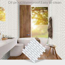 Kitchen Set Package Australia - 1pcs 5pcs set Self Adhesive Mosaic Tile Wall Decal Sticker DIY Kitchen Bathroom Home Decor Retro 3D Vinyl Waterproof Wallpaper