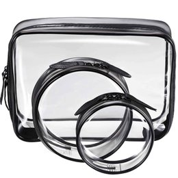 $enCountryForm.capitalKeyWord Australia - 3 Pieces Portable Black + transparent Waterproof PVC Travel Cosmetic Bag Travel Toiletries Bag Makeup with Zipper (Small, Me