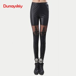 $enCountryForm.capitalKeyWord NZ - Dunayskiy Women Elastic Waist Black Faux Leather Lace Patchwork Pants High Quality Skinny Slim Pencil Pants Trousers For Ladies