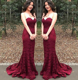 white wine grapes UK - Modern Cheap Long Bridesmaid Dresses Burgundy Sweetheart Lace Mermaid Wine Maid of Honor Wedding Guest Dress Prom Party Gowns BD8901