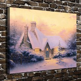 Framed Christmas Paintings Australia - Thomas Kinkade,Christmas Tree Cottage,1 Pieces Canvas Prints Wall Art Oil Painting Home Decor (Unframed Framed) 18x24