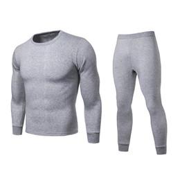 Wholesale Men Winter Warm Long Johns Plus Size Solid Color Long Sleeve Top+Pants Thermal Underwear Set