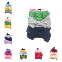 Headbands Bow Australia - Baby Girls Headband Infant Toddler Solid Floral Bow Nylon Hairband Newborn Kids Cute Headwrap Hair Accessories 24Colors 3 colors piece Q202