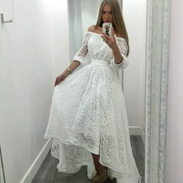 $enCountryForm.capitalKeyWord Australia - Simple White Lace High Low Prom Dresses 2019 Bateau Neck Half Sleeves Formal Party Evening Gowns