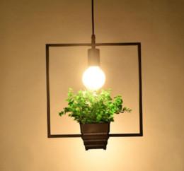 Modern Pots For Plants Australia - Hanging Lamp modern loft lighting Geometric Plants Pot Iron Square Round Suspension chandelier amerNature Designer For Decor Restaurant Cafe