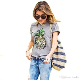 juniors tee shirts UK - Crazy2019 Woman Clothing Womens Summer Top Dishy Pineapple Printed Tops Funny Juniors T Shirt Short Sleeve Shirt Tees Blusa