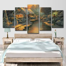 christmas room spray 2019 - Canvas Paintings Wall Art Home Decor 5 Pieces Christmas River Log Cabin Living Room HD Printed Snow Landscape Pictures c