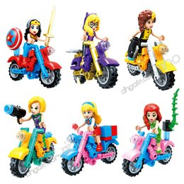 Super Blocks Australia - Building Blocks Sets Kids Toys Girl Gifts Wonder Woman Supergirl Batgirl Poison Ivy She-Hulk Motorcycle Girls 6pcs Super Hero Action Figures