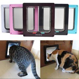 $enCountryForm.capitalKeyWord NZ - Dog Cat Kitten Door Security Flap Door 4 Ways Lockable Wall Mount Animal Small Pet Cat Dog Gate Pet Supplies
