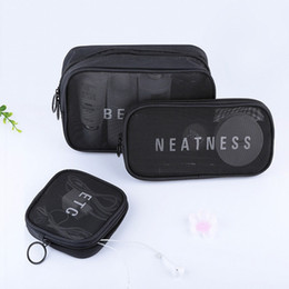 korean fashion handbag sales UK - Korean Hot Sale ETC Mesh Cosmetic Bag Travel Zipper Make Up Bath Wash Handbag Case bag