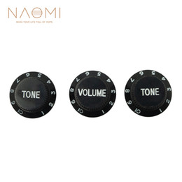 black color guitar UK - NAOMI 1 Volume & 2 Tone Control Knobs With Numbers Guitar Parts & Accessories New Black Color High Quality