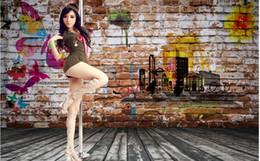 $enCountryForm.capitalKeyWord NZ - 3d photo wallpaper custom mural Nostalgic brick wall pole dancing beauty tooling Home improvement living room wallpaper for walls 3 d