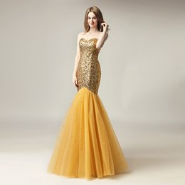 Sheath Sweetheart lace evening dreSS online shopping - 2020 Cheap Sparkly Mermaid Formal Party Wear Sexy Prom Evening Dresses Sequined Gold Floor Length Plus Size
