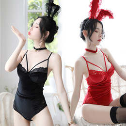 leotards costumes Australia - Sexy Rabbit Ear Lace Open Crotch Thong Leotard with Collar Velvet Cosplay Costume Bunny Girl Party Costumes Roleplay Lingerie