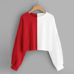 Wholesale cropped top hoodie resale online - Short Oversized Hoodies Women Sweatshirts Tops Splice Harajuku Streetwear O Neck black white Autumn Cropped Hoodies Pullover