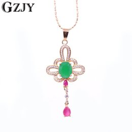 $enCountryForm.capitalKeyWord Australia - GZJY Fashion Champagne Gold Color Charming Green CZ Red Zircon Pendant Necklace For Women Party Jewelry Wedding Birthday Gift