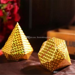 gold candy boxes UK - 100pcs Diamond shaped Candy Box Gift Jewelry DIY Paper Boxes Wedding favors Gold Silver Red Purple free shipping 2017092109