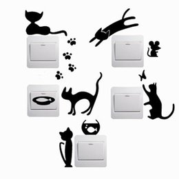 Black Wall Decal Stickers Australia - Sale 5pcs set Black 2016 New Lovely Cartoon Cat Removable Cute Vinyl Decal Switch Wall Sticker Home Decor