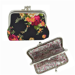 Discount slot coin - Vintage Flower Coin Purse Girls Canvas Wallet Double Clasp Metal Frame Purse Key Holder Jewelry Earphone Bag Buckle Clut