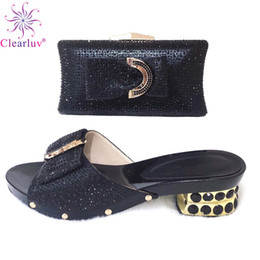 $enCountryForm.capitalKeyWord Australia - Top Quality Black Italian Shoe to Match Women Handbag With Clutch African Party Shoes and Bag Sets For Daliy Use B94-5