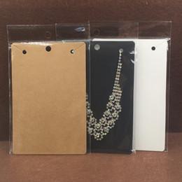 Ingrosso Carte della collana di Kraft di 50pcs 15 * 10cm + 50pcs sacchetti di OPP, grande collana di esposizioni di imballaggio della collana e carte di carta del pendente in bianco