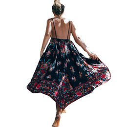 4953706300 Bohemian Dress for Women Spaghetti Strap Sexy Floral Print Beach Holiday New  Look Fashion Casual Dresses 5835
