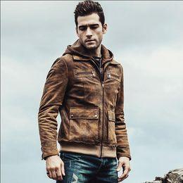 $enCountryForm.capitalKeyWord Australia - Free shipping Hot Men's Real Leather Jacket Men Motorcycle Removable Hood Winter Coat Men Warm Genuine Leather Plus Size Jackets