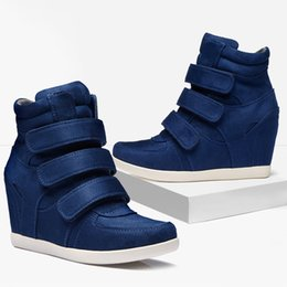 fashion hip hop girls NZ - 1 Fashion High Top Shoe Women Ankle Boots Wedges Girl Lady Shoes Height Increasing Hook Loop Winter Shoes Hip Hop Star Runway
