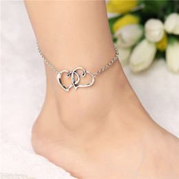 heart products NZ - New Products Summer Fashion in Europe and America Peach Heart Love Heart Heart-shaped Double Heart Anklet Foot Charm