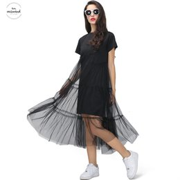korean big t shirt Australia - Summer Korean Splicing Pleated Tulle T Shirt Dress Women Big Size Black Gray Color Clothes Twill New Fashion