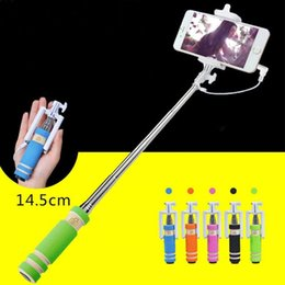 Wholesale HOT SELL Fashion Cell Phone Wired Remote Selfie Stick Monopod Pole Holder Mobile App E190