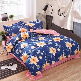 $enCountryForm.capitalKeyWord Australia - Home Textile Pastoral Flower Bedding Set Blue Duvet Cover Pink Flat Sheet Pillowcase Twin Full Queen King Super King Size
