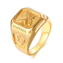 $enCountryForm.capitalKeyWord Australia - Chunky Mens Eagle Ring Gold Tone Stainless Steel Square Top With Rays Signet Ring Heavy Animal Band
