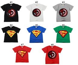 Wholesale Sequin Clothes Australia - New 8 Colors Spiderman superman Captain Heart Flipped Sequin Kids T shirts Boys 100% Cotton T-shirts Boys T shirt kids Clothes Magic