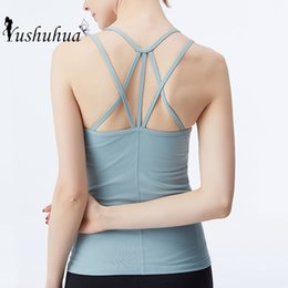 sexy yoga pants for women Canada - Sexy Cross back Sport Tops For Women Gym Yoga Tank Tops Tight Fitness Sleeveless Vest Running Training Shirts Sportswear