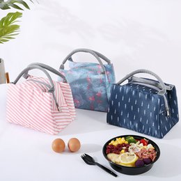 insulated cooler tote bags NZ - Animal Flamingo Lunch Bags Women Portable Functional Canvas Stripe Insulated Thermal Picnic Kids Cooler Lunch Box Bag Tote